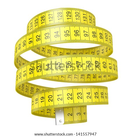 Yellow measuring tape isolated on white background with clipping path - stock photo