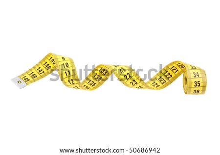 Yellow measuring tape of the tailor isolated on white - stock photo