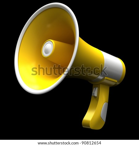 Yellow megaphone on a black background. - stock photo