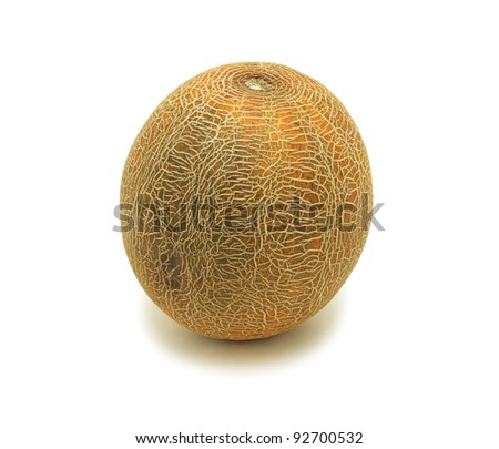 Yellow melon, isolated on a white background - stock photo