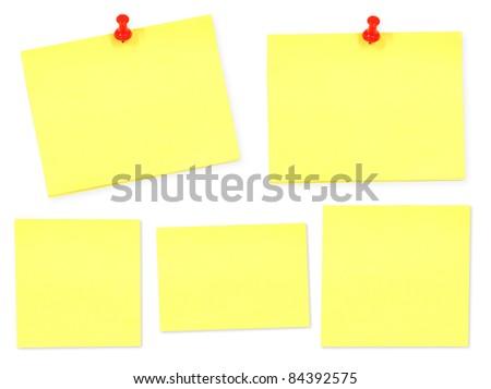 Yellow memo stick on white background - stock photo