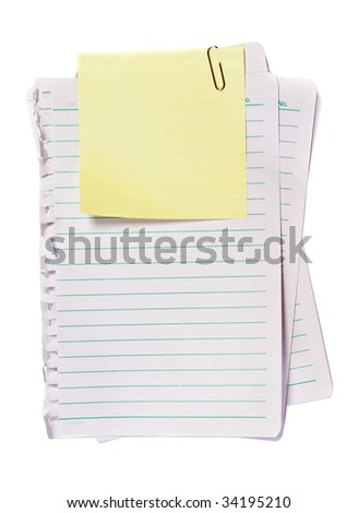 Yellow Memo with paper clip, write note on it - stock photo
