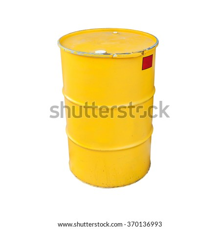 Yellow metal barrel isolated on white background - stock photo