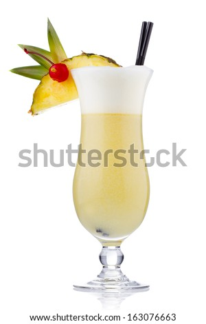 Yellow milk cocktail with berries and pineapple slice isolated on white - stock photo
