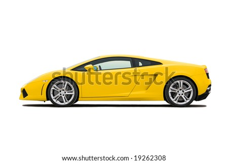 Yellow modern supercar isolated on white - stock photo