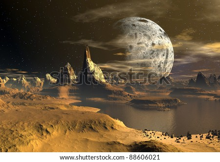Yellow Moon part 01, alien moon or planet with mountains and water holes, rocks and deserts - stock photo