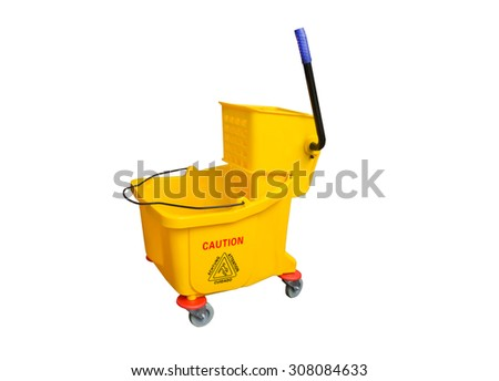 Yellow Mop Bucket isolated on white background - stock photo