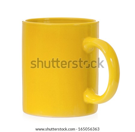 Yellow mug empty blank for coffee or tea isolated on white background  - stock photo