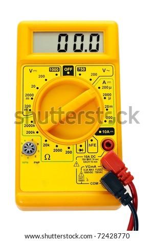 Yellow multimeter, technology tool, on white background - stock photo