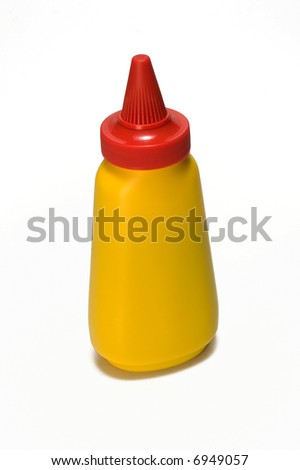 yellow mustard bottle (label removed) - stock photo