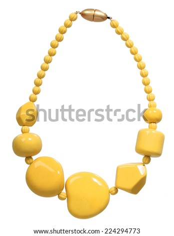 yellow necklace isolated on white - stock photo