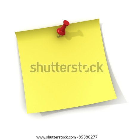 Yellow note and red push pin isolated on white background with shadow - stock photo