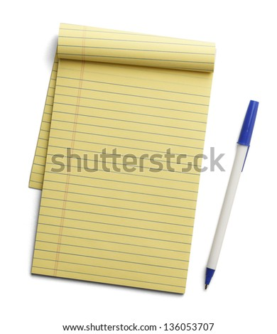 Yellow note pad with blue pen next to it isolated on white background. - stock photo