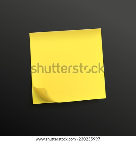 yellow note paper isolated on black background - stock photo