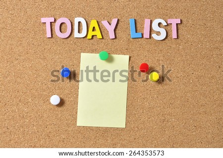 """Yellow Notepad With Alphabets """"TODAY LIST"""" On Board Background - stock photo"""