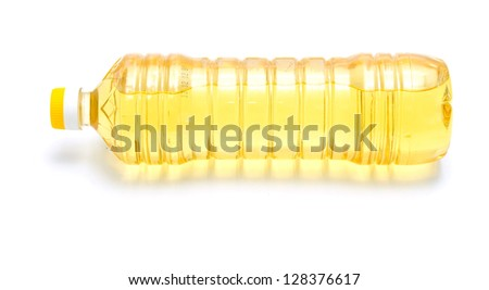 yellow oil in plastic bottle - stock photo