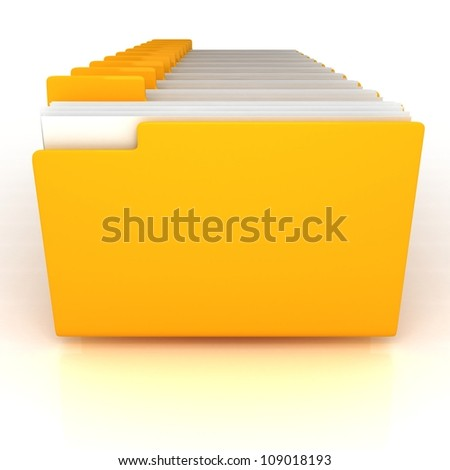 yellow open folders with documents - stock photo