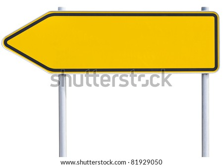 yellow/orange road sign . Arrow to the left. with clipping path - stock photo