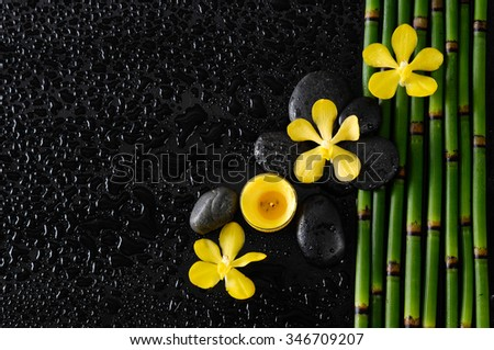 yellow orchid and yellow candle, stones bamboo grove on wet black background   - stock photo