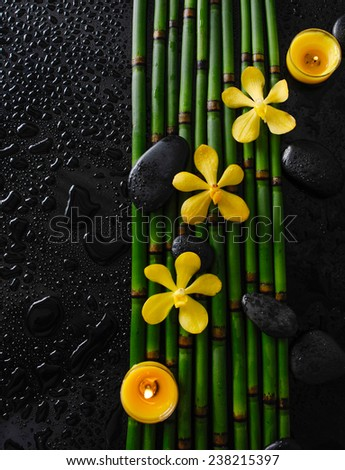 yellow orchid with stones and bamboo grove ,yellow candle on wet background - stock photo