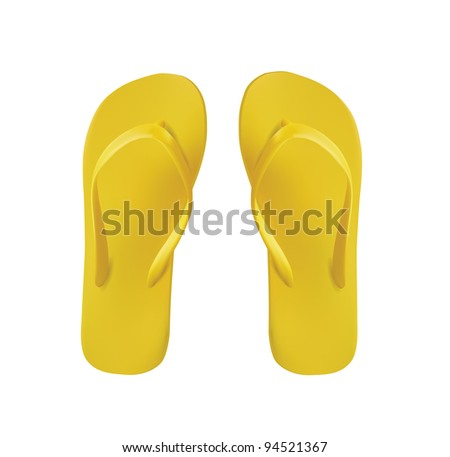 Yellow Pair of Flip Flops Isolated On White - stock photo