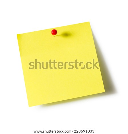 Yellow paper note pad attached with push pin on white background - stock photo
