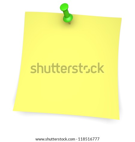 Yellow paper note with green pushpin. 3d image - stock photo