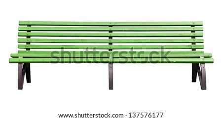 yellow park bench . Isolated over white background . - stock photo