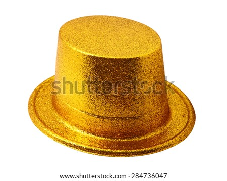 Yellow party hat isolated on the white background - stock photo