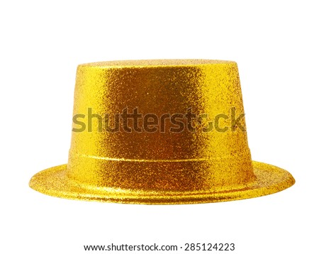 Yellow party hat isolated on the white background, clipping path. - stock photo