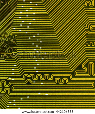 yellow pcb board integrated circuit electric computer parts abstract background  - stock photo