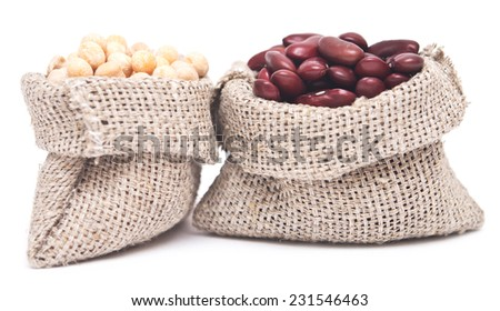 yellow peas and red kidney beans in a sack on white background - stock photo