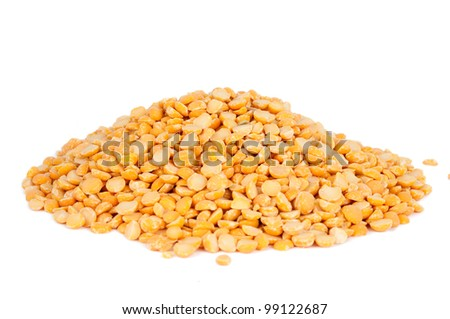 yellow peas isolated on white background - stock photo