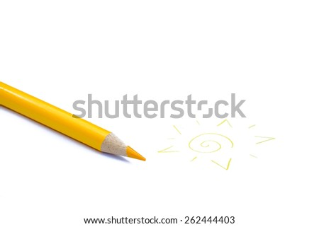Yellow pencil crayon drawing a sun - stock photo