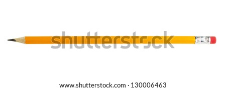 yellow pencil isolated on white - stock photo