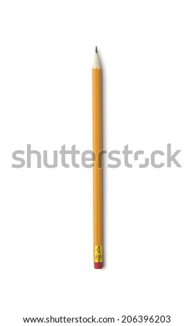 Yellow pencil isolated on white background with clipping path. Above view. - stock photo