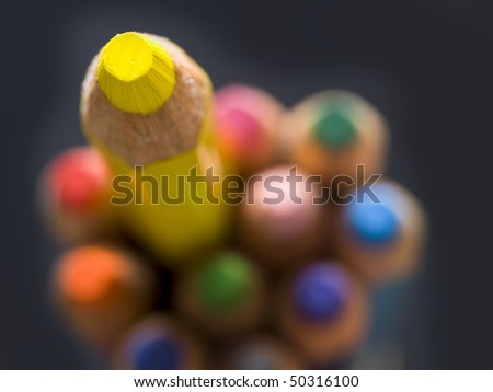 yellow pencil, top view - stock photo