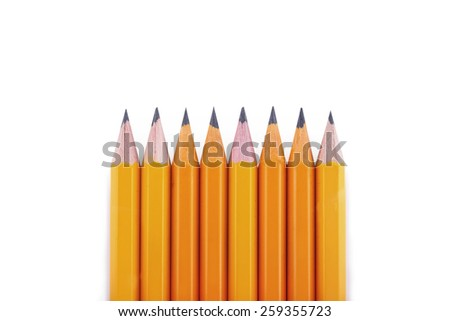 Yellow pencils on a white background - stock photo