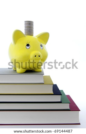 Yellow Piggy bank on a pile of books - stock photo