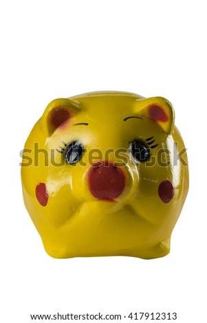 Yellow piggy bank on white background - stock photo