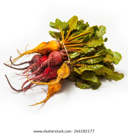 Yellow pink and traditional purple Beetroot isolated on a white studio background. - stock photo
