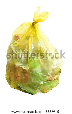 yellow plastic and aluminum bag on the white - stock photo