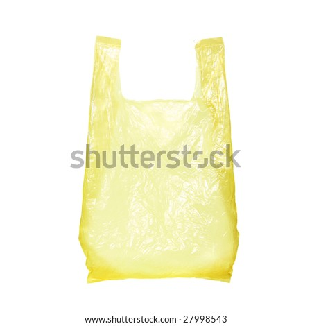 yellow plastic bag isolated on white - stock photo