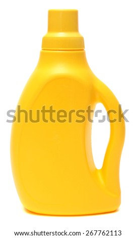 Yellow plastic bottle with cleaning liquid isolated on white background. - stock photo