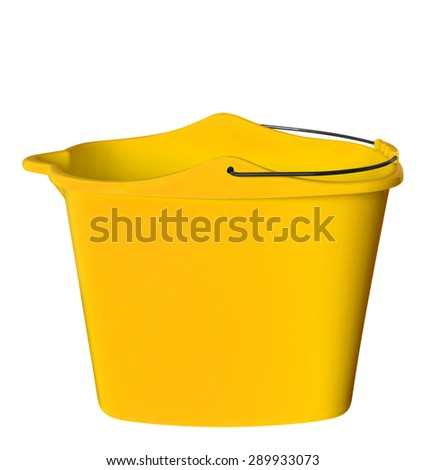 Yellow plastic bucket isolated on white background. Clipping path included. - stock photo