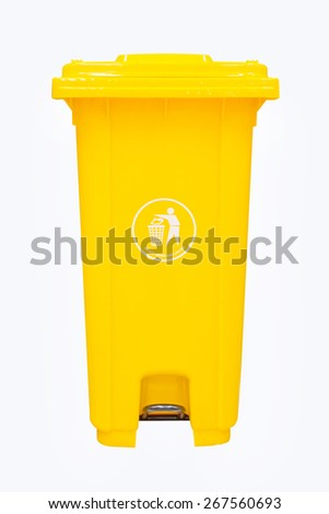 yellow plastic dust bin isolated over white background. - stock photo