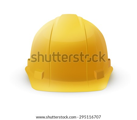Yellow plastic hard hat helmet icon isolated on a white background. To represent safety or construction. - stock photo