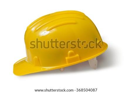 Yellow plastic helmet isolated on white background. - stock photo