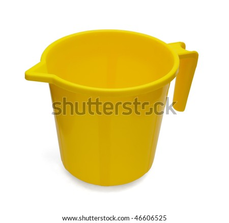 Yellow plastic jug isolated on white - stock photo