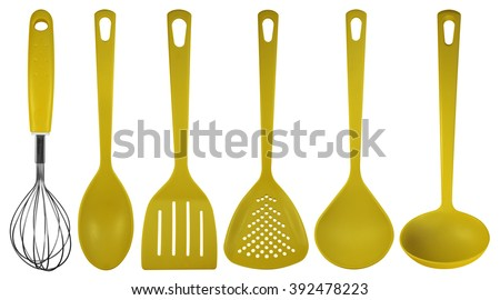 Yellow plastic kitchen utensils isolated on white. Clipping path included. - stock photo